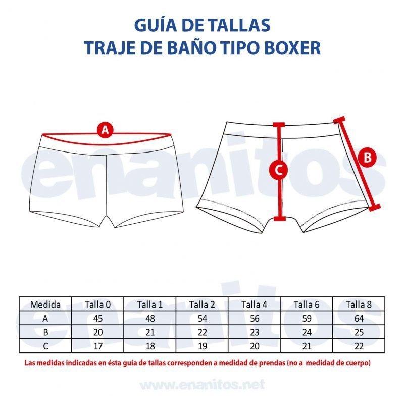 Guía de talla de Traje de Baño tipo Boxer para niños